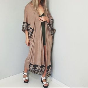 Tan Boho Aztec Embroidered Duster Cardigan